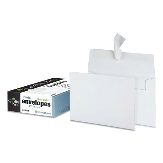 Picture of Greeting Card/Invitation Envelope, A-4, Square Flap, Redi-Strip Closure, 4.5 x 6.25, White, 50/Box