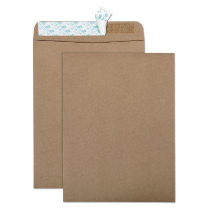 Picture of 100% Recycled Brown Kraft Redi-Strip Envelope, #10 1/2, Cheese Blade Flap, Redi-Strip Closure, 9 x 12, Brown Kraft, 100/Box