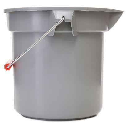 "Picture of 14 Quart Round Utility Bucket, 12"" Diameter x 11 1/4""h, Gray Plastic"