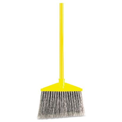 """Picture of Angled Large Broom, Poly Bristles, 46 7/8"""" Metal Handle, Yellow/Gray"""