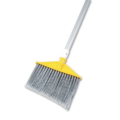 """Picture of Angled Large Brooms, Poly Bristles, 48 7/8"""" Aluminum Handle, Silver/Gray"""
