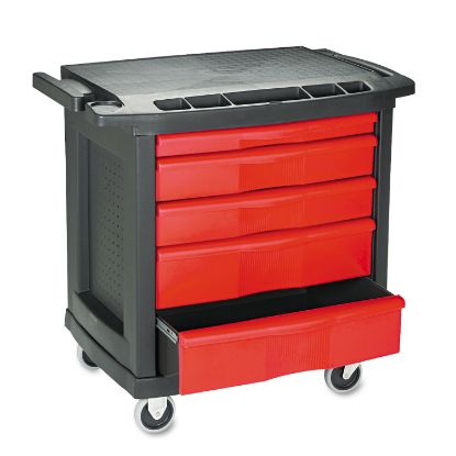 Picture of Five-Drawer Mobile Workcenter, 32 1/2w x 20d x 33 1/2h, Black Plastic Top