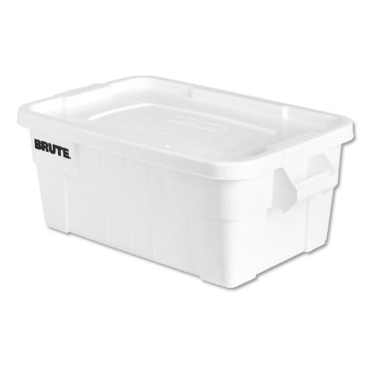 """Picture of BRUTE Tote with Lid, 14 gal, 17"""" x 28"""" x 11"""", White"""