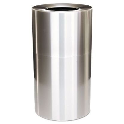 Picture of 2-Piece Open Top Indoor Receptacle, Round, with Liner, 35 gal, Satin Aluminum