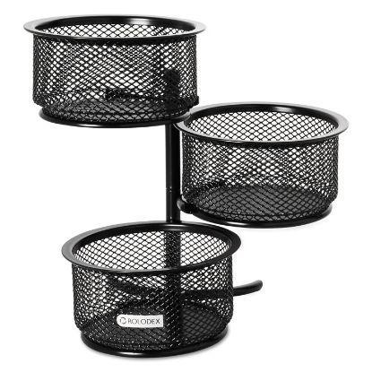 Picture of 3 Tier Wire Mesh Swivel Tower Paper Clip Holder, 3 3/4 x 6 1/2 x 6, Black
