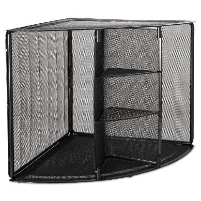 Picture of Mesh Corner Desktop Shelf, Five Sections, 20 x 14 x 13, Black