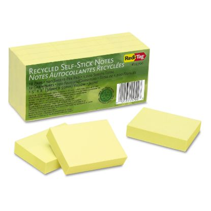 Picture of 100% Recycled Notes, 1 1/2 x 2, Yellow, 12 100-Sheet Pads/Pack