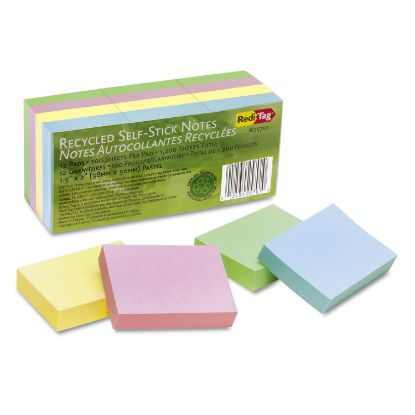 Picture of 100% Recycled Notes, 1 1/2 x 2, Four Pastel Colors, 12 100-Sheet Pads/Pack