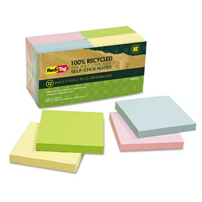 Picture of 100% Recycled Notes, 3 x 3, Four Colors, 12 100-Sheet Pads/Pack