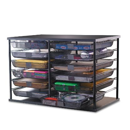 """Picture of 12-Compartment Organizer with Mesh Drawers, 23 4/5"""" x 15 9/10"""" x 15 2/5"""", Black"""