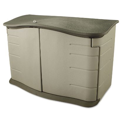 Picture of Horizontal Outdoor Storage Shed, 55 x 28 x 36, 20 cu ft, Olive Green/Sandstone