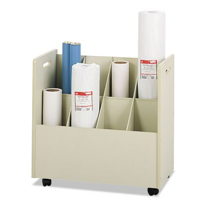 Picture of Laminate Mobile Roll Files, 8 Compartments, 30.13w x 15.75d x 29.25h, Putty