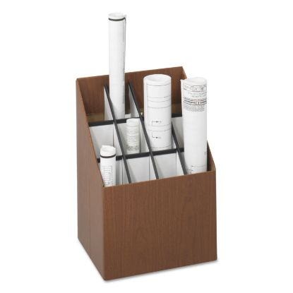 Picture of Corrugated Roll Files, 12 Compartments, 15w x 12d x 22h, Woodgrain