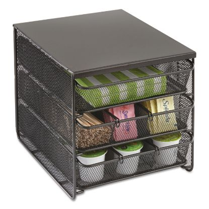 Picture of 3 Drawer Hospitality Organizer, 7 Compartments, 11 1/2w x 8 1/4d x 8 1/4h, Bk
