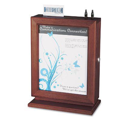 Picture of Customizable Wood Suggestion Box, 10 1/2 x 5 3/4 x 14 1/2, Mahogany