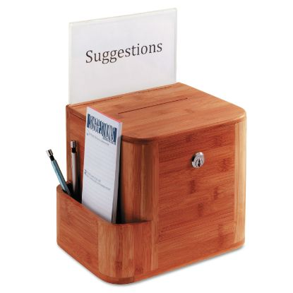 Picture of Bamboo Suggestion Box, 10 x 8 x 14, Cherry