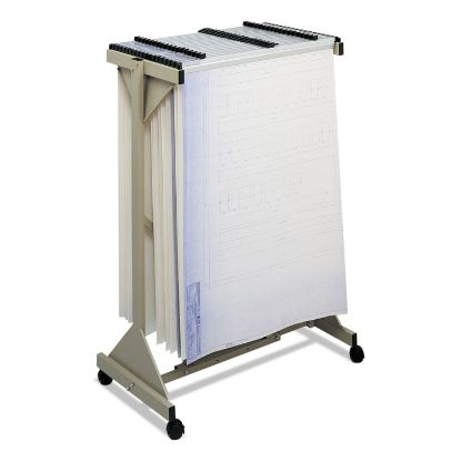Picture of Mobile Plan Center Sheet Rack, 18 Hanging Clamps, 43.75w x 20.5d x 51h, Sand