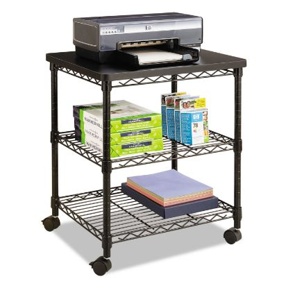 Picture of Desk Side Wire Machine Stand, Three-Shelf, 24w x 20d x 27h, Black