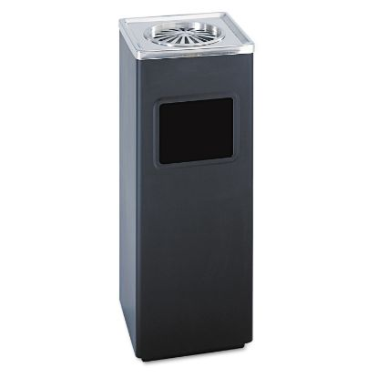 Picture of Ash 'N Trash Sandless Urn, Square, Stainless Steel, 3 gal, Black/Chrome
