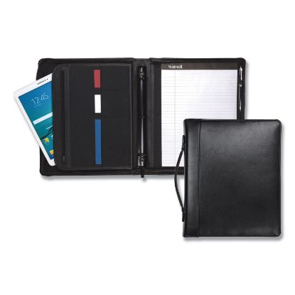 """Picture of Leather Multi-Ring Zippered Portfolio, Two-Part, 1"""" Cap, 11 x 13 1/2, Black"""