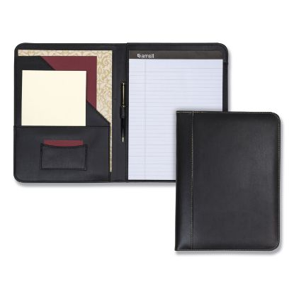 Picture of Contrast Stitch Leather Padfolio, 8 1/2 x 11, Leather, Black