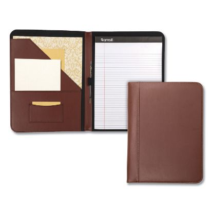 Picture of Contrast Stitch Leather Padfolio, 8 1/2 x 11, Leather, Tan