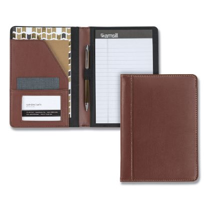 Picture of Contrast Stitch Leather Padfolio, 6 1/4w x 8 3/4h, Open Style, Brown