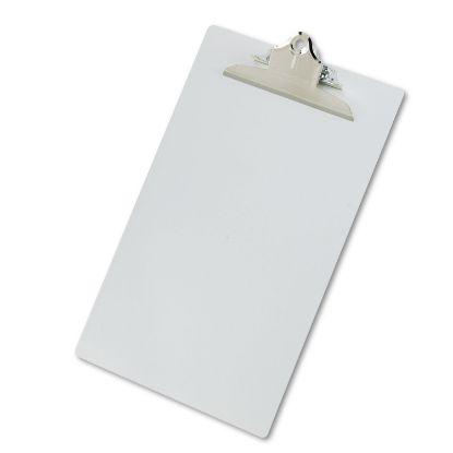 "Picture of Aluminum Clipboard w/High-Capacity Clip, 1"" Clip Cap, 8 1/2 x 14 Sheets, Silver"