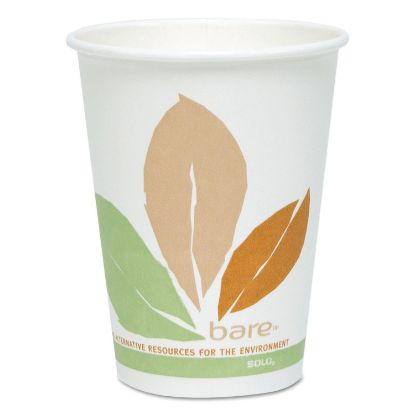 Picture of Bare by Solo Eco-Forward PLA Paper Hot Cups, 12 oz, Leaf Design, 50/Pack