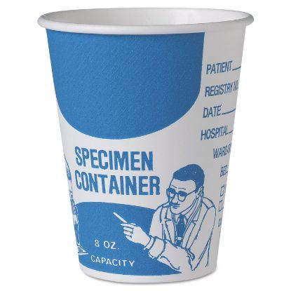 Picture of Paper Specimen Cups, 8 oz, Blue/White, 20/Carton