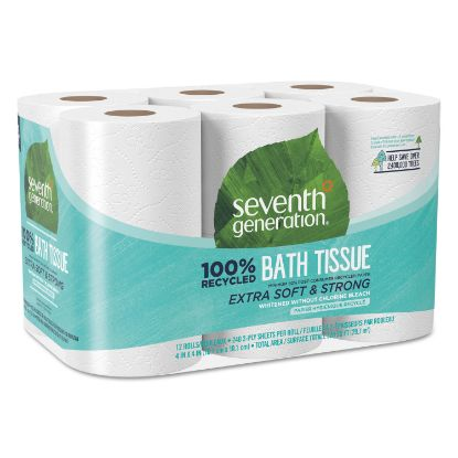 Picture of 100% Recycled Bathroom Tissue, Septic Safe, 2-Ply, White, 240 Sheets/Roll, 12/Pack