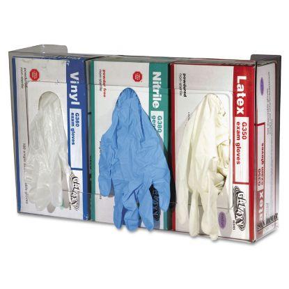 Picture of Clear Plexiglas Disposable Glove Dispenser, Three-Box, 18w x 3 3/4d x 10h