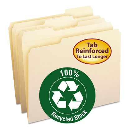 Picture of 100% Recycled Reinforced Top Tab File Folders, 1/3-Cut Tabs, Letter Size, Manila, 100/Box