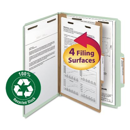 Picture of 100% Recycled Pressboard Classification Folders, 1 Divider, Letter Size, Gray-Green, 10/Box