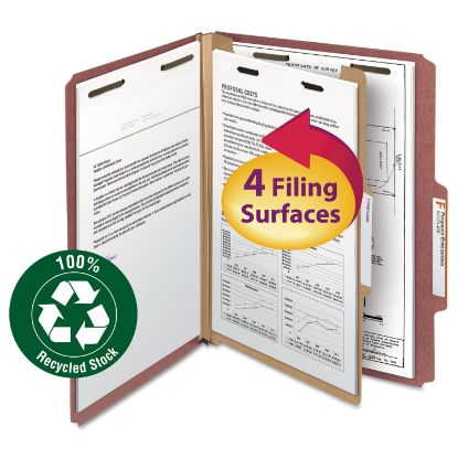 Picture of 100% Recycled Pressboard Classification Folders, 1 Divider, Letter Size, Red, 10/Box