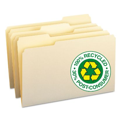 Picture of 100% Recycled Manila Top Tab File Folders, 1/3-Cut Tabs, Legal Size, 100/Box