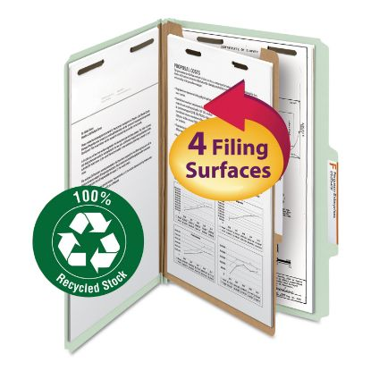 Picture of 100% Recycled Pressboard Classification Folders, 1 Divider, Legal Size, Gray-Green, 10/Box