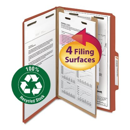 Picture of 100% Recycled Pressboard Classification Folders, 1 Divider, Legal Size, Red, 10/Box
