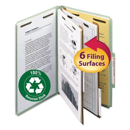 Picture of 100% Recycled Pressboard Classification Folders, 2 Dividers, Legal Size, Gray-Green, 10/Box