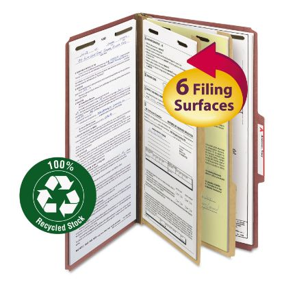Picture of 100% Recycled Pressboard Classification Folders, 2 Dividers, Legal Size, Red, 10/Box