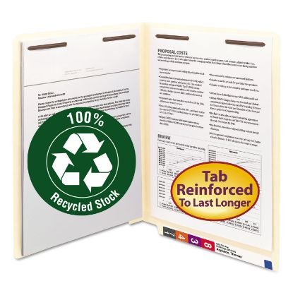 Picture of 100% Recycled Manila End Tab Folders with Two Fasteners, Straight Tab, Letter Size, 50/Box