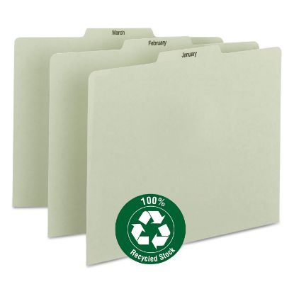 Picture of 100% Recycled Monthly Top Tab File Guide Set, 1/3-Cut Top Tab, January to December, 8.5 x 11, Green, 12/Set