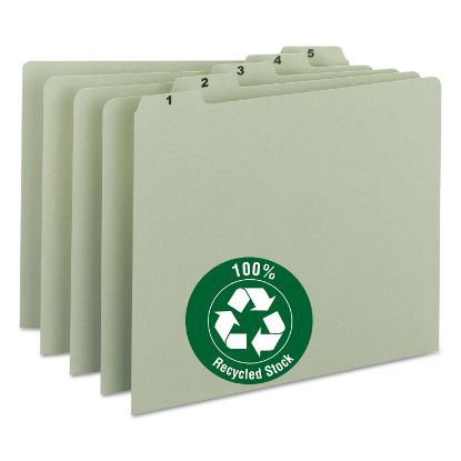 Picture of 100% Recycled Daily Top Tab File Guide Set, 1/5-Cut Top Tab, 1 to 31, 8.5 x 11, Green, 31/Set