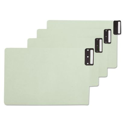 Picture of 100% Recycled End Tab Pressboard Guides with Metal Tabs, 1/3-Cut End Tab, Blank, 8.5 x 14, Green, 50/Box