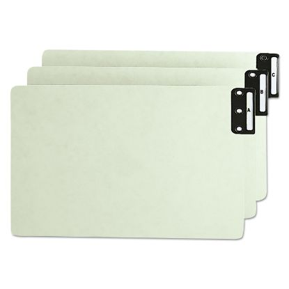 Picture of 100% Recycled End Tab Pressboard Guides with Metal Tabs, 1/3-Cut End Tab, A to Z, 8.5 x 14, Green, 25/Set