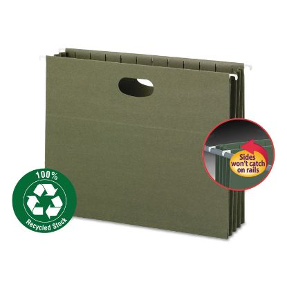 Picture of 100% Recycled Hanging Pockets with Full-Height Gusset, Letter Size, Standard Green, 10/Box