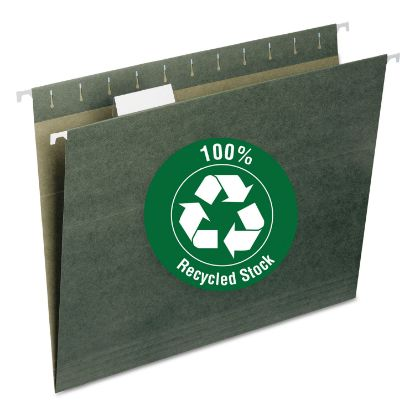 Picture of 100% Recycled Hanging File Folders, Letter Size, 1/5-Cut Tab, Standard Green, 25/Box