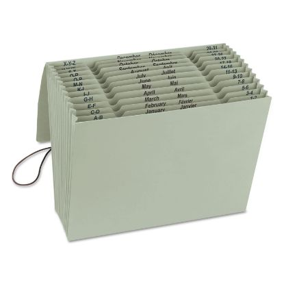 Picture of 100% Recycled Colored Expanding Files, 12 Sections, 1/12-Cut Tab, Letter Size, Green Tea