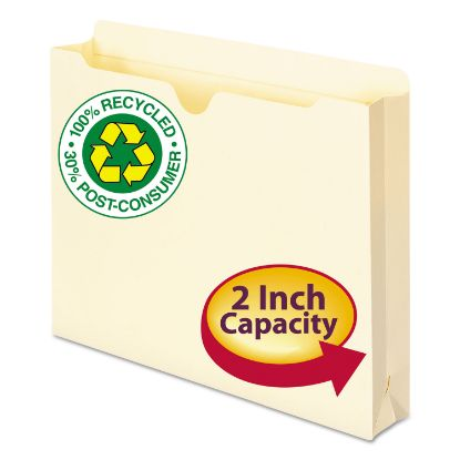 Picture of 100% Recycled Top Tab File Jackets, Straight Tab, Letter Size, Manila, 50/Box