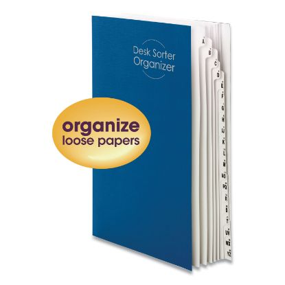 Picture of Deluxe Expandable Indexed Desk File/Sorter, Reinforced Tabs, 20 Dividers, Alpha/Numeric, Legal-Size, Dark Blue Cover